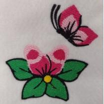 Matriz de Bordado Flores Com Borboleta 3