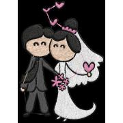 Matriz de Bordado Casamento Cartoon 01