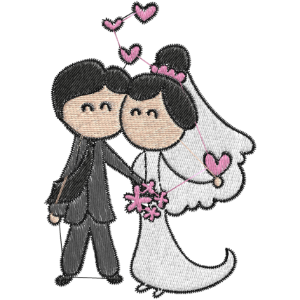 Matriz de Bordado Casamento Cartoon 01