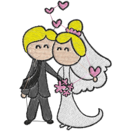 Matriz de Bordado Casamento Cartoon 02