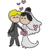 Matriz de Bordado Casamento Cartoon 03