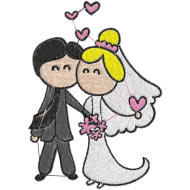 Matriz de Bordado Casamento Cartoon 04