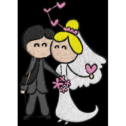 Matriz de Bordado Casamento Cartoon 04