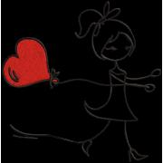 Matriz de Bordado Menino com balão de coração
