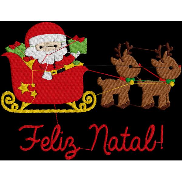 Matriz De Bordado Papai Noel Com Trenó