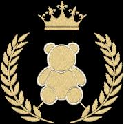 Matriz de Bordado Urso Com Ramos e Coroa