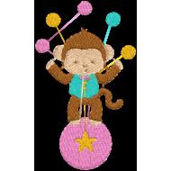 Matriz de Bordado  Macaco Malabarista Circo