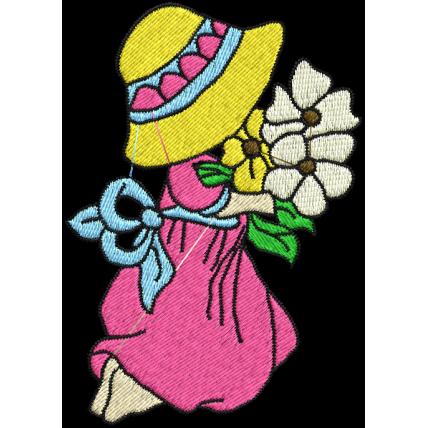 Matriz de Bordado Boneca Com Flor 1