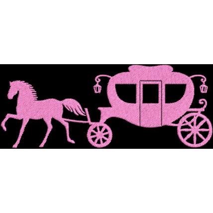 Matriz de Bordado Carruagem Rosa de Princesa